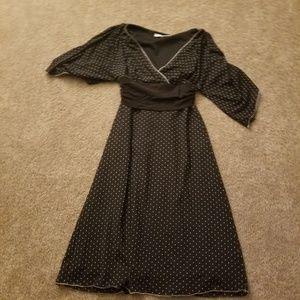Women's Black Dress W/ White Polka Dots Sz Small
